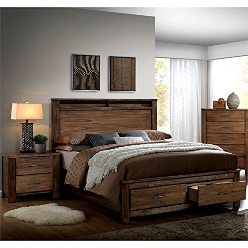 Amazon Com Furniture Of America Nangetti Rustic 2 Piece Queen