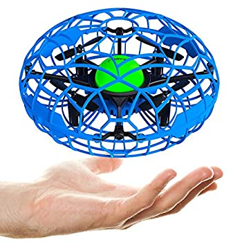 Force1 Scoot XL Hand Operated Drone for Kids or Adults - Hand Controlled Motion Sensor Mini Drone Easy Indoor Small UFO Toy Flying Ball Drone Toys for Boys and Girls  Blue
