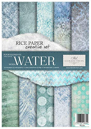 Itd Collection - Reispapier Kreativset A4 Decoupage Rice Paper Sheet 29,7 x 21 cm Mehrfarben (Water)