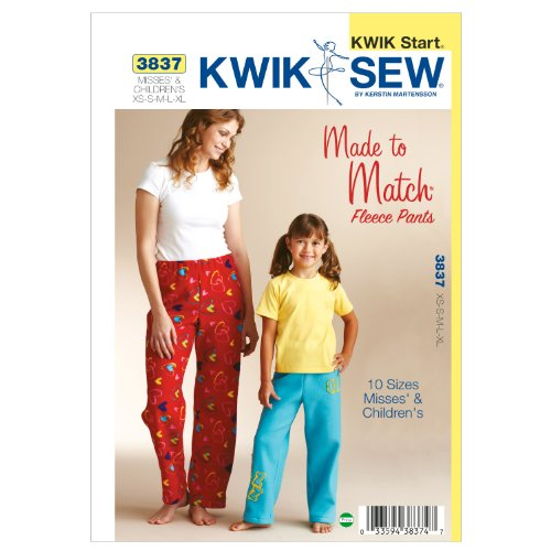 KWIK - SEW PATTERNS K3837 Size Misses': Extra-Small - Small - Medium - Large - Extra-Large, Kinderen: Extra-Small 4-5 - S 6 - M 7-8 - L 10 - Extra-Large 12-14 Fleece Broek, Pack van 1, Wit