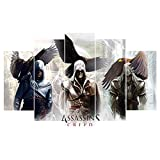 5 Paneles Cuadros En Lienzo Imágenes Decorativas Figura De Assassins Creedwall...