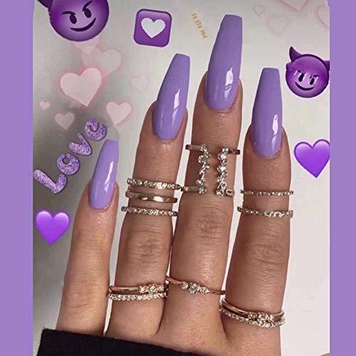 Sethain Brillant Punk Faux Ongles Conseils Argent Lune Traverser Faux Ongles Longue Couverture Complète 24PCS Appuyez Sur Nail Pour les femmes et les filles (violet)