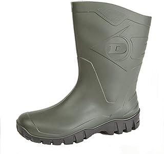 Womens Dunlop Short Half Length Ankle Wellington Wellies Boots WIDE CALF UK 4 -9, Green, 7 UK