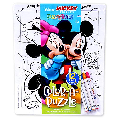Disney Mickey and Minnie Mouse Color Your Own Puzzle with Crayons