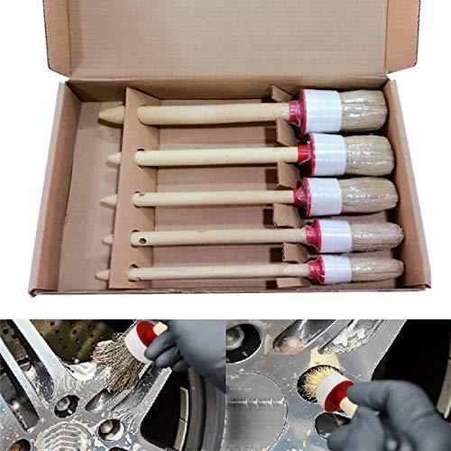 ROSEBEAR 5 stks/partij Auto Detailing Reiniging Natuurlijke Zwijnen Haar Premium Detail Borstels Houten handvat Kit voor Auto Air Vents Deur Trim Wielen Interieur, Exterieur, Leer