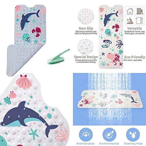 Bathtub Mat, Bath Mat for Tub, Shower Mat, Sea Cartoon Design Octopus, Bathtub Mat for Kids, Toddler and Ba   by, Dolphin, Seahorse and Crab, 38x16, XL Size, Bathroom Mats, Machine Washable, Anti-Slip