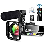 Ultra HD Video Camera Camcorder with Powerful Microphone 1080P Vlogging Camera Recorder 3.0 Inch IPS...