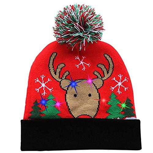 LLHH Sombrero de Navidad Novel Fiesta de Navidad Colorida Brillante de la Moda Jersey de Punto Capo Inocencio
