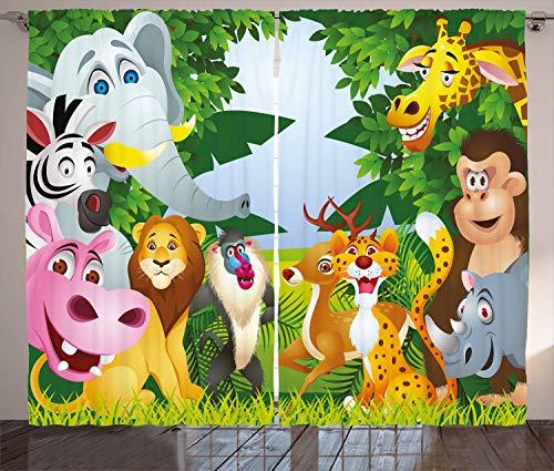 ABAKUHAUS Kindergarten Rustikaler Gardine, Safari Dschungel Lustig, Schlafzimmer Kräuselband Vorhang mit Schlaufen und Haken, 280 x 260 cm, Mehrfarbig