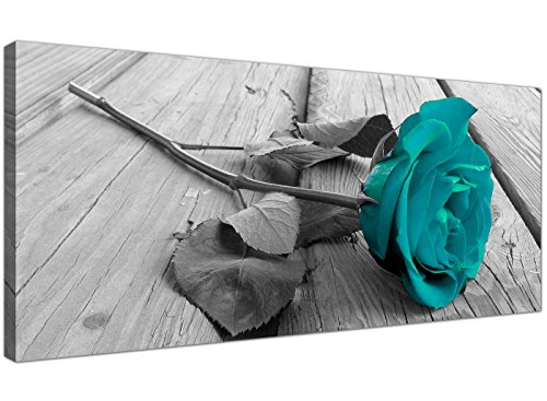 Modern Black and White Canvas Wall Art of a Teal Rose Flower - Large Floral Canvas Pictures - 1037 - WallfillersÃ'® by Wallfillers