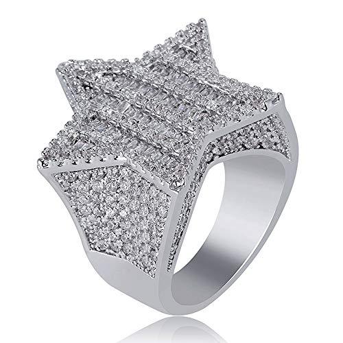 Sailormjy Ring voor heren, pentagram ring, micro-intarsia, zirkonia, hip hop voor mannen en vrouwen diameter 20.6mm zilver