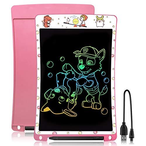 WOBEECO Tableta de Escritura de Recargable de 10 Pulgadas| Tablet Escritura LCD para niños | Ideal como Pizarra Digital para Aprender a Leer y Escribir | Juguete Educativo (Rosa)
