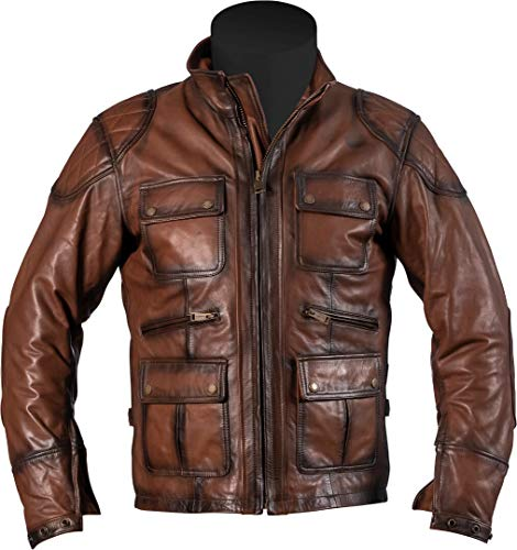 Helstons Chaqueta de piel para moto Hunt Rag, marrón, S