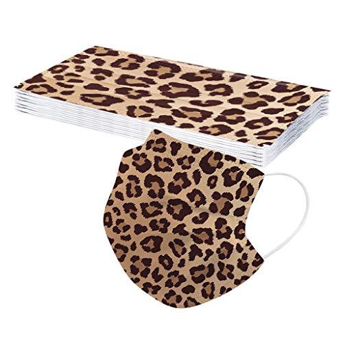 Leopardenmuster Einmal-Mundschutz, Atmungsaktive Staubschutz Erwachsene Face Covering Druck Bandana Mund und Nasenschutz Halstuch