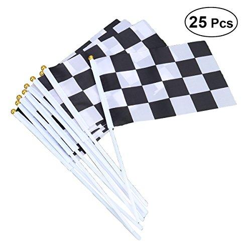 Toyvian 25 Piezas a Cuadros Banderas de poliéster con Bandera de Mano