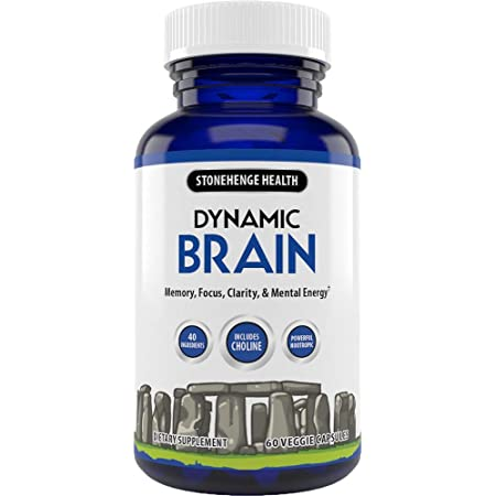 Stonehenge Health Dynamic Brain Supplement – Memory, Focus, & Clarity– Formulated with 40 Unique Nootropic Ingredients Including Phosphatidylserine, Bacopa Monnieri, and Huperzine A (1 Pack)