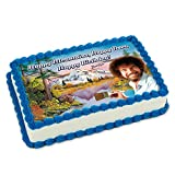 Bob Ross 'Happy Trees, Happy Mountains, Happy Birthday' Edible Cake Images, Printed Icing Topper, Fits Quarter Sheet Cakes | Designed to match Bob Ross Party Supplies, use with Birthday & Graduation