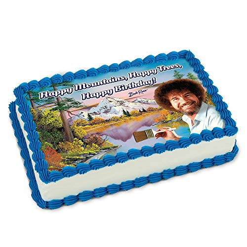 """Bob Ross """"Happy Trees, Happy Mountains, Happy Birthday"""" Edible Cake Images, Printed Icing Topper, Fits Quarter Sheet Cakes   Designed to match Bob Ross Party Supplies, use with Birthday & Graduation"""
