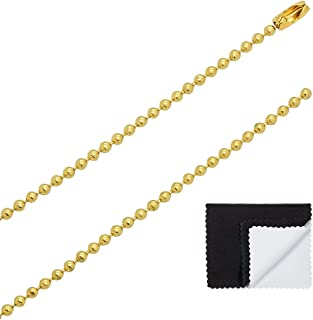 1mm - 6.5mm 14k Yellow Gold Plated Military Ball Chain Necklace, 16