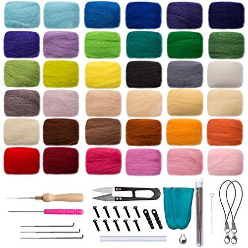 Naler Lana de Fieltro Kit Fieltro de Lana de Colores para DIY Manualidades y Artesanía (36 Colores)