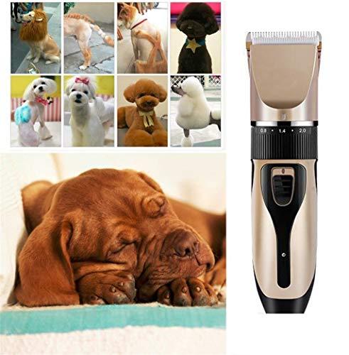 W-xiao Carpet Elektrische tondeuse, oplaadbaar, draadloos, voor huisdieren, beauty-kit met kam en schaar, geschikt voor honden, katten, paarden en andere huisdieren. 4,5 x 17,5 cm.