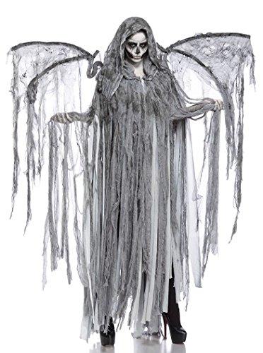 Damen Cosplay Todesengel Fantasy Kostüm Overall Verkleidung aus Fransencape, Flügel lange Fransen in grau Totenkopf Onsesize
