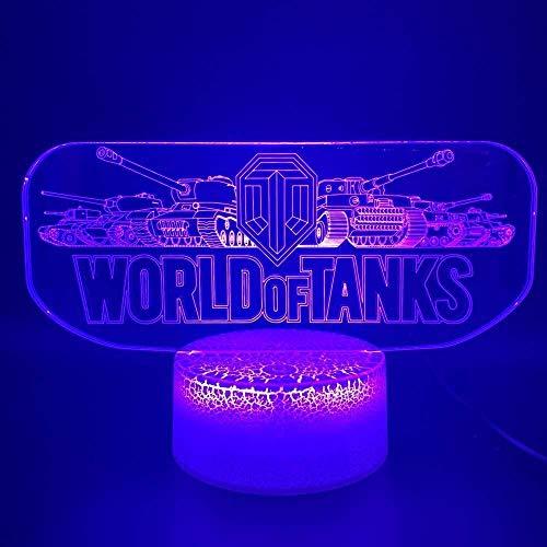 Geweldig 3D Led Nachtlampje Spel Wereld van Tanks Kantoorbed Kamer Decoratieve Nachtlampje Kind Jongen Verjaardag 3D Lamp Gift3D Geschenken Speelgoed Lampbalkon