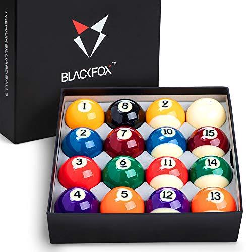 Blackfox Pool Balls, Billiard Balls, with 16 Pool Balls Regulation Size, Balanced Pool Table Balls with Cue Ball - Professional Pool Table Accessories - Premium Pool Ball Set