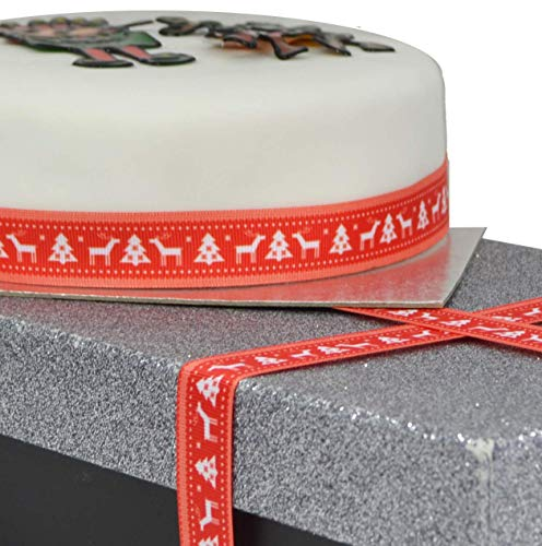 Red & White Stag Christmas Tree 2m x 22mm Wide Ribbon Great for Cake Accessories Decorating & Decoration Ideas for Present Gift Wrap, Bows, Toppers or Wrapping for Bags, Eve Boxes, Cards, Ribbon