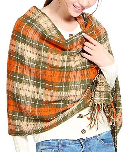 heekpek Mujeres caliente Mantas Cozy Pashmina bufanda larga tartán enrejado mantón (Amarillo)