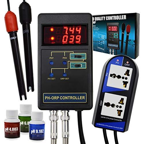 2 in 1 Digitaler pH- und Redox-Regler mit separatem Relais Wiederaufladbare Elektrode BNC-Typ Sonde Wasserqualität Tester für Aquarium Hydroponik Tank Monitor 14.00pH / 1999mV Kalibrierlösung