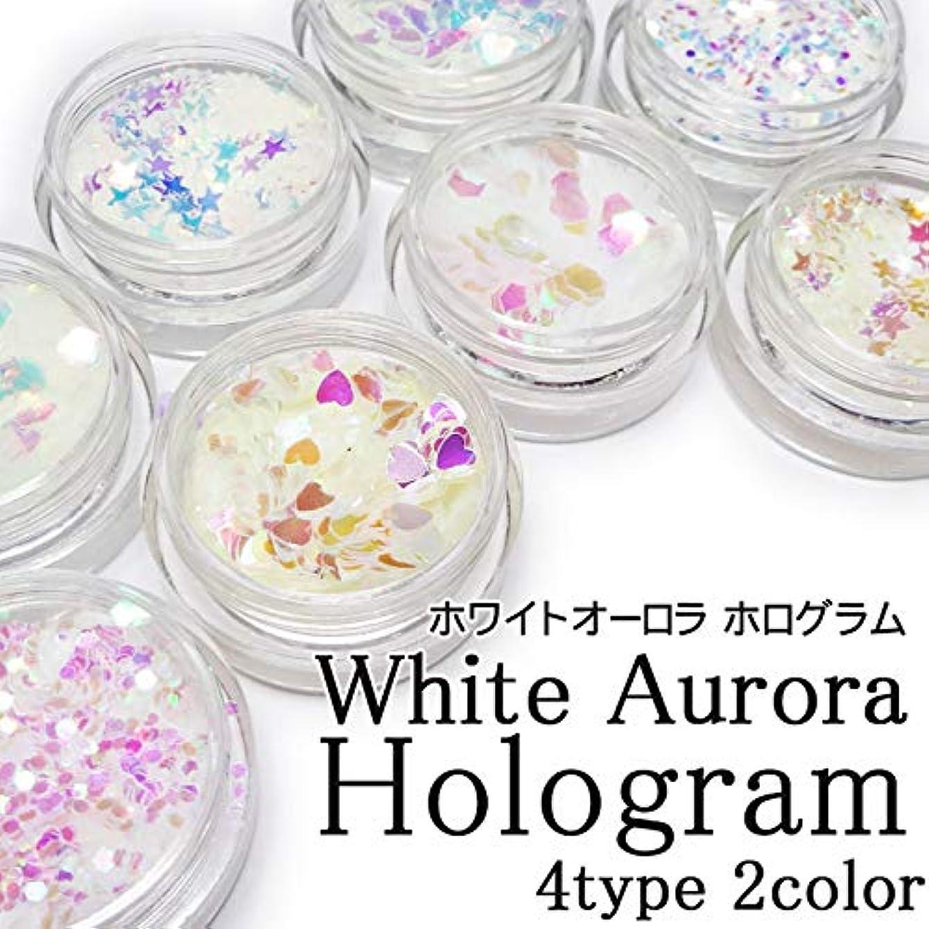 ホワイトオーロラ ホログラム(ケース入り)約1g前後入り 各種 (ピンク, 4.ハート)
