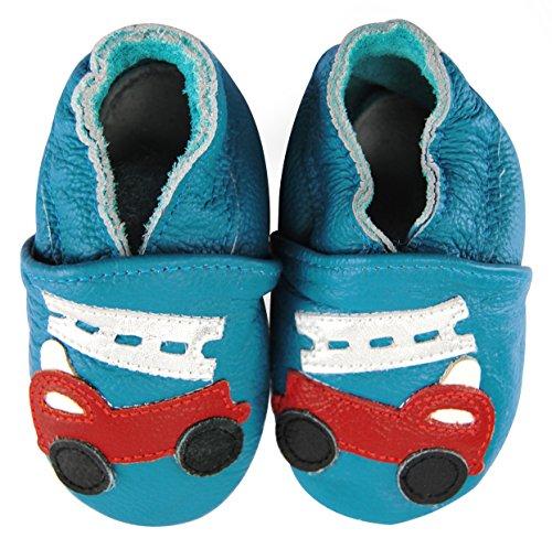 axy Chaussures en cuir pour bébé - Chaussures pour bébé - Chaussures de jardin d'enfants - Camion de pompiers - Bleu - multicolore, 0-6 Monate