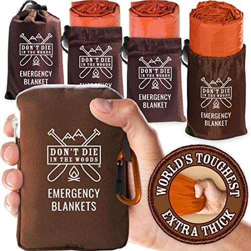 World's Toughest Emergency Blankets [4-Pack] Extra-Thick Thermal Mylar Foil Space Blanket | Waterproof Ultralight Outdoor Survival Gear For Hiking, Camping, Running, Emergency, First Aid Kits [Orange]