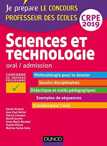 Sciences et technologie - Oral, admission - CRPE 2019 (2019)