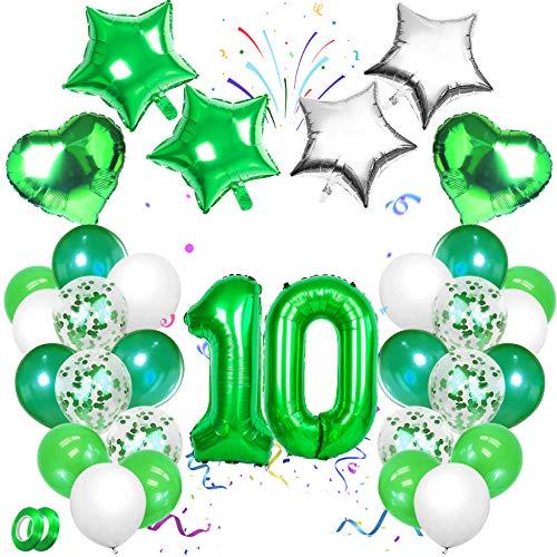 Sunshine smile Grüne Zahlen Geburtstagsdeko, Party Mädchen Geburtstagsdeko Luftballons,Zahlen Ballon,Folienballon,Party Kindergeburtstag Happy Birthday Dekoration Luftballon 10. Geburtstag(Grün, 10)