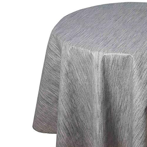 Wachstuch Robuste Leinen Prägung RUND OVAL Größe & Farbe wählbar Hellgrau 160 cm Rund abwaschbare Tischdecke