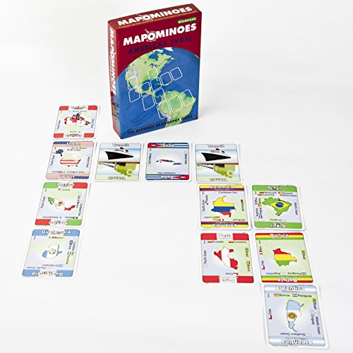 MAPOMINOES North and South America – Fun and Educational Geography Card Game About Connecting North and Latin American Countries. for Kids Teens and Adults. Like Dominoes with maps.