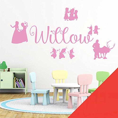 Wall Designer Nom personnalisé Filles Art Mural Autocollant – inspirée de Disney La Reine des neiges, Elsa, Anna, Olaf, Kristoff, Coquelicot, Large (950x290mm)
