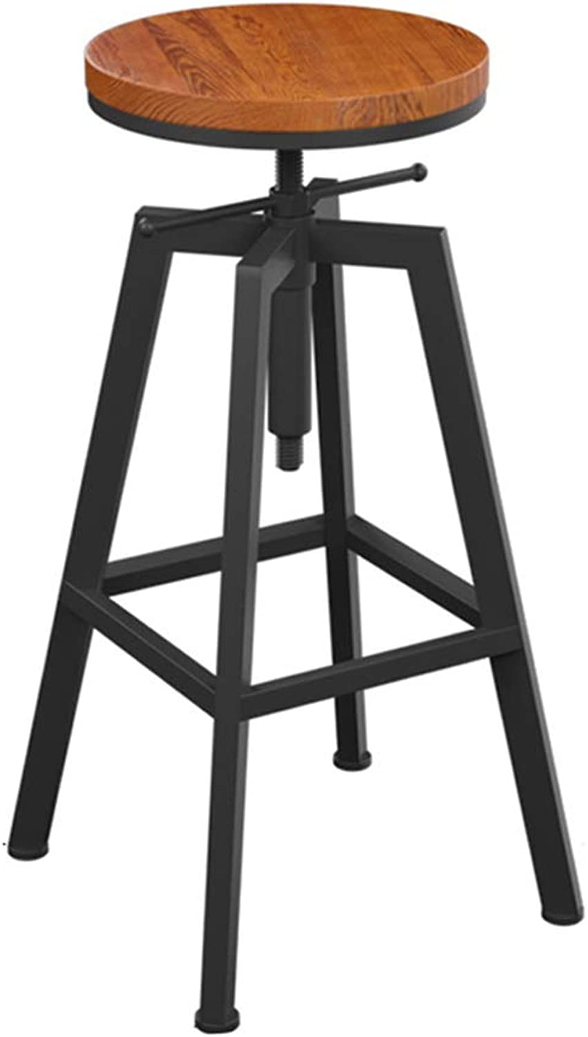 Barstools Metal Frame Counter Stool Bar Chair Height Adjustable Pub Kitchen Breakfast Dining Chair Solid Wood Seat Max Load 150kg