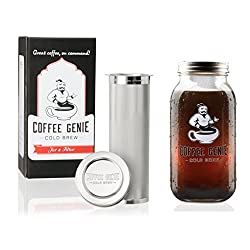 Image of Coffee Genie Cold Brew Coffee Maker-2qt Iced Coffee Maker w/Ball Mason Jar and Stainless Steel Cold Brew Filter Infuser for Delicious Ice Coffee or Cold Brewed Iced Tea (64oz): Bestviewsreviews