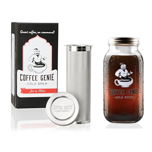 Coffee Genie Cold Brew Coffee Maker-2qt Iced Coffee Maker w/Ball Mason Jar and Stainless Steel Cold Brew Filter Infuser for Delicious Ice Coffee or Cold Brewed Iced Tea (64oz)