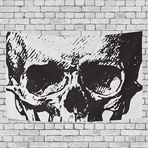 Wandteppich mit Totenkopf-Motiv, Schwarz und Weiß, 152,4 x 101,6 cm, Textil, multi, 60x40(in)