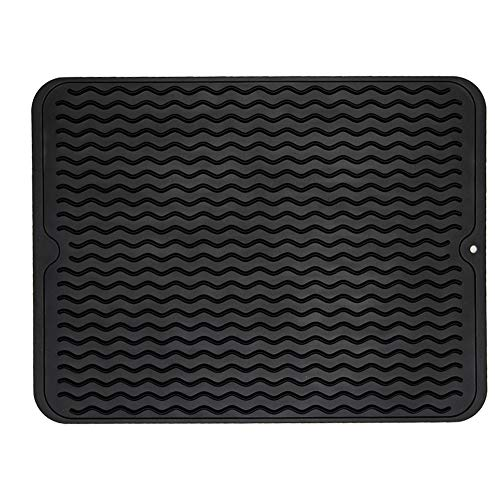 ZLR Silicone Dish Drying Mat Easy Clean Heat Resistant Hot Pot Holder Trivet Black Dish Drying Mat for Kitchen Large 15.8 inches x 12 inches