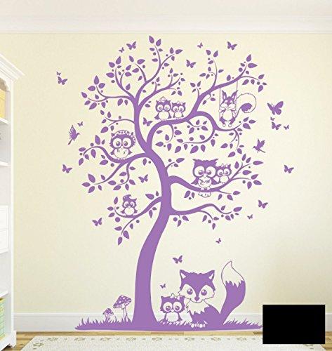 Wandtattoo Wandaufkleber Eulen Eulenbaum Eulenwandtattoo M1542 - ausgewählte Farbe: *Schwarz* - ausgewählte Größe: L - 120cm breitx 150cm hoch