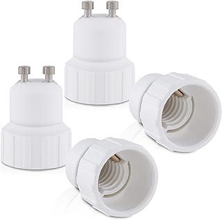 kwmobile 4x Casquillos de lámpara - Adaptador conversor de montura GU10 a casquillo E14 - Zócalos para lámparas LED halógenas y de ahorro