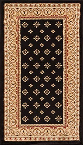 Noble Palace Black French European Formal Traditional Area Rug 2x4 (2'3' x 3'11') Easy to Clean Stain Fade Resistant Shed Free Modern Contemporary Floral Transitional Soft Living Dining Room Rug