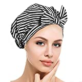 Luxury Shower Cap for women, Waterproof Bowknot Bathing Caps, Reusable Shower Caps, Multi-functional Shower Cap, Home Bathroom Headgear (Black and White Stripe)