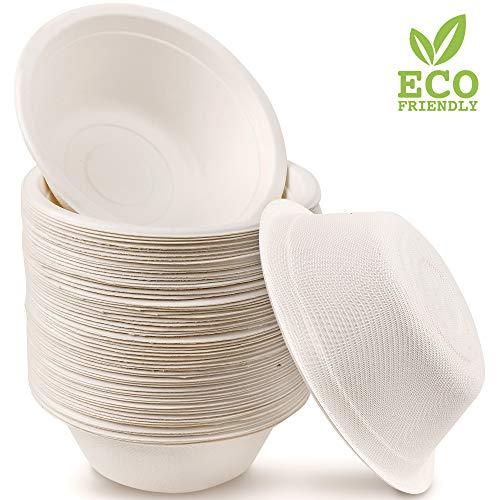 matana 60 Premium Einwegschalen Zuckerrohr, 350ml| Umweltfreundlich, Biologisch Abbaubar & Kompostierbare - Starke & Stabil| Suppenschale Schüssel Papierschalen - Flüssigkeitsdicht & Mikrowellenfest.