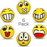 envami Anti-Stressball Emoji mit lustigen Gesichtern - 6 STK Stressbälle Knautsch Knet Smiley...